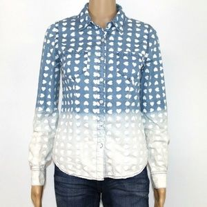 Mossimo Women's Shirt Blue White Hearts Ombre